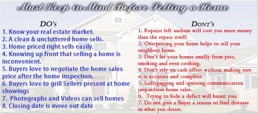 Homeowners must keep in mind these following points before listing their homes for selling.